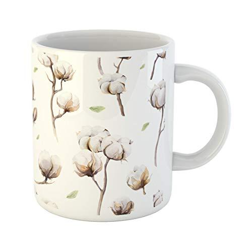 Tinmun 11 Oz Coffee Mug Watercolor Vintage Twigs and Flowers Boho Softness Botanical Watercolour Decor Lover Funny Mug Birthday Gift Coffee Tea Cup Mugs