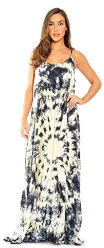 (Riviera Sun 21619-BC-M Summer Dresses Maxi Dress Sundresses for Women Black/Cream)