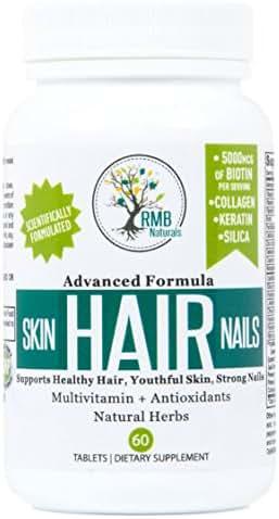 Hair Skin & Nails Vitamins- Premium - Biotin, Collagen, Keratin & Natural Herbs - Look your Best! Hair Growth Supplement, Unique Effective Formula, 60 Tablets RMB Naturals