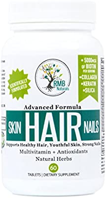 Hair Skin & Nails Vitamins- Premium - Biotin, Collagen, Keratin & Natural Herbs - Look your Best! Hair Growth Supplement, Unique Effective Formula, 60 Tablets RMB Naturals