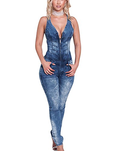 Huateng Las Mujeres Elegantes Slim Denim Jumpsuits Jeans Deep V Sleeveless Party Femenino Mamelucos Azul