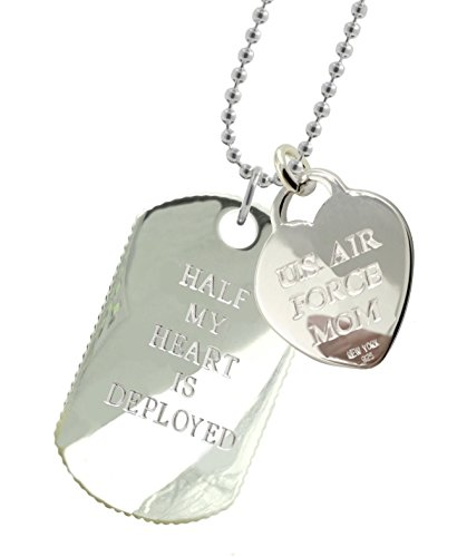 Solid Sterling Silver Air Force Mom Dog Tag by New York 925 & Co.