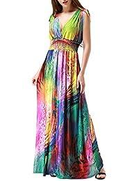 Wantdo Women's Print V-Neck Sexy Bohemian Maxi Dress for Cocktail