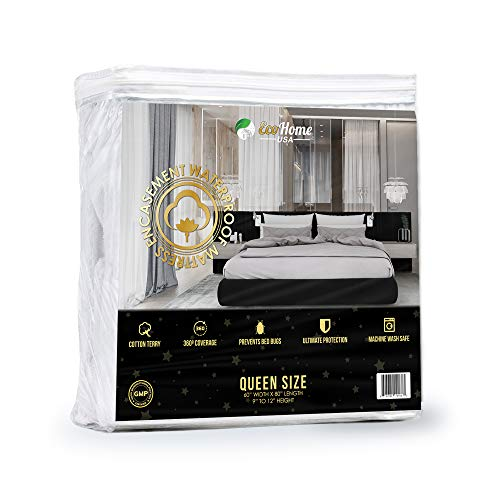 Mattress Safe - Waterproof Mattress Encasement Cover Queen Size Soft, Breathable Cotton Terry Fabric | Helps Prevent Bed Bugs, Dust Mites, Bacteria, Allergens | Repels Urine and Liquids | Ultra-Quiet