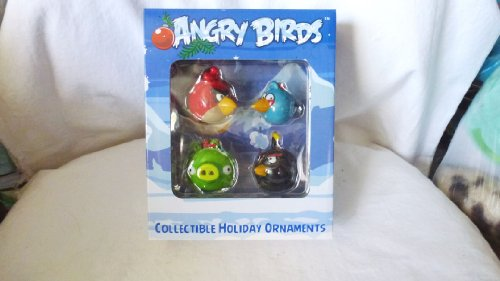 Angry Bird Christmas Ornaments - Angry Birds Collectible Holiday Ornaments - Set of 4