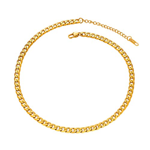 (PROSTEEL Gold Cuban Link Chain Miami Choker Necklaces 18K Plated Men Girl Jewelry Trendy Gold Choker Necklace for Women)