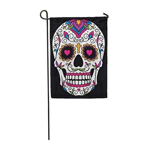 Semtomn Garden Flag Red Day Mexican Sugar Skull Yellow Dead Floral Halloween 12