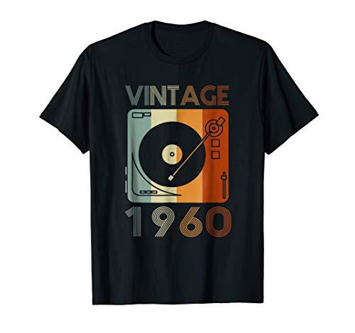 Vintage 1960 Retro Record Player Birthday Vinyl DJ T-Shirt (Record Player 1960)