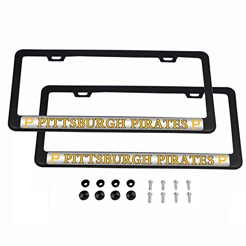 - 2PCS MLB Lightweight License Plate Frames Black Matte Powder Coated Aluminum - Pittsburgh Pirates