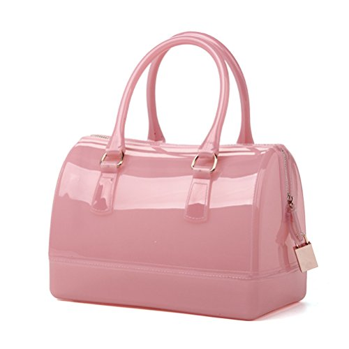 Donalworld Women Waterproof Jelly Pillow-shaped Bag Doctor Style Handbag Pink