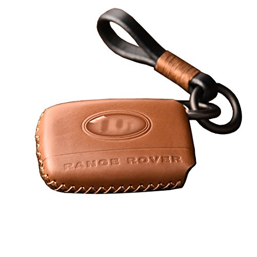 KMT Genuine Leather Car Remote Key Fob Case Holder Cover Shell For Land Rover Range Rover Sports Discovery Evoque (Pack of 1) (Brown) by KMT