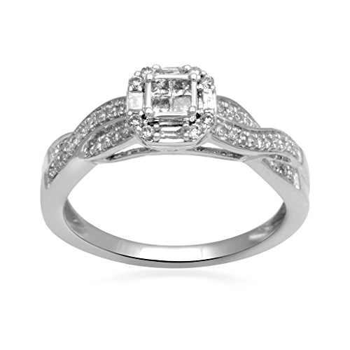 Jewelili 10kt White Gold 1/4cttw Princess, Baguette and Round Diamond Crossover Bridal Ring, Size 7
