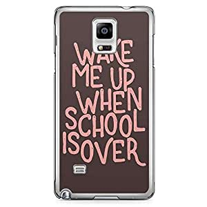 Samsung Note 4 Transparent Edge Phone Case School Over Phone Case Typography Phone Case Pink 2D Note 4 Cover with Transparent Frame