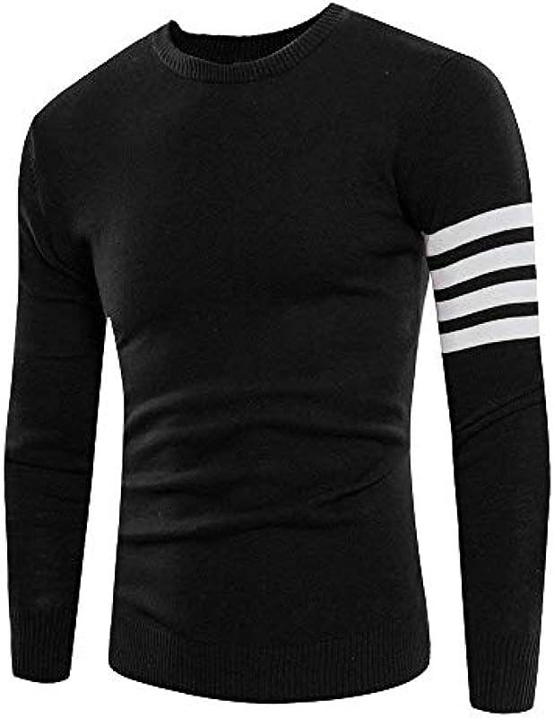 Męski sweter sweter jesień dzianie sweter Troyer splice elegancki długi rękaw paski Slim Fit sweter dziergany: Odzież