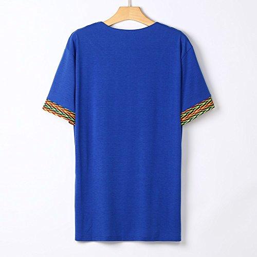 Tee shirt Plage De Imprimé Été Bleu Hommes Blouse Muscle Col Tops Bohême Slim Fit Casual Amlaiworld V T 1R5wqn8Wa