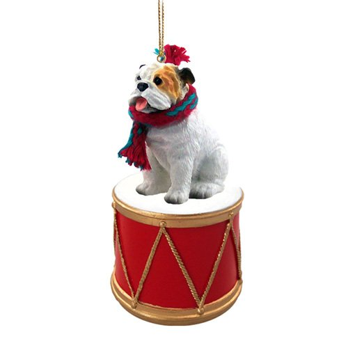 Little Drummer White Bulldog Christmas Ornament - Hand Painted - Delightful by Animal Den
