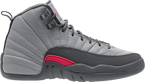 Nike Air Jordan 12 Retro GG Grey/Pink Big Girls Basketball Shoes 510815-029 (6) by Jordan
