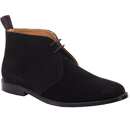 Unze Mens 'Rocky' Leather Laced-up Comfy Boots Shoes - G00074