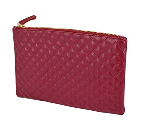 Bag Leather Oversized Quilted Purse Color Diamond Pattern Red Tote Pouch Large Envelop Shoulder Handbag Olivia Bag Clutch Solid vgIRIB