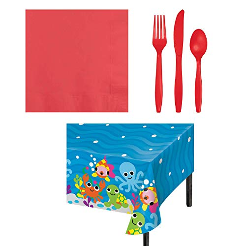 Ocean Themed Party Supply Bundle for 16 Guests- 50 Coral Napkins, 48 Assorted Coral Disposable Silverware Cutlery, 1 Ocean Print Plastic Tablecloth by Freckles Crafts Helping Kids Find Their Creative Spot