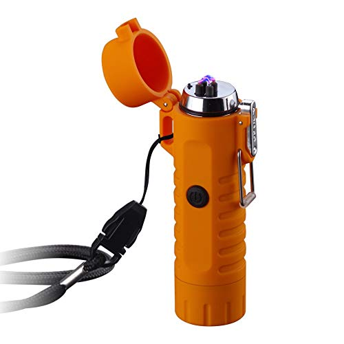 Dual Arc Lighter with Flashlight Double Plasma USB Rechargeable Flameless Waterproof Windproof Mini Electric Lighter for Cigar Candle Cigarette Pipe (Orange Dual Arc Lighter with Flashlight)