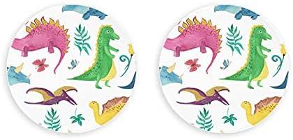 Dinosaurios Niños lindos Animales coloridos Sacacorchos 2 piezas Abrebotellas Nevera Círculo Imanes