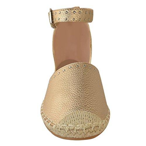 Tiras Rock Thirsty Nuevo Sandalias Rosa Zapatillas Talla Tacos Verano con Oro Plano Mujer Metálico heelberry Alpargatas de Fashion PInOS6O