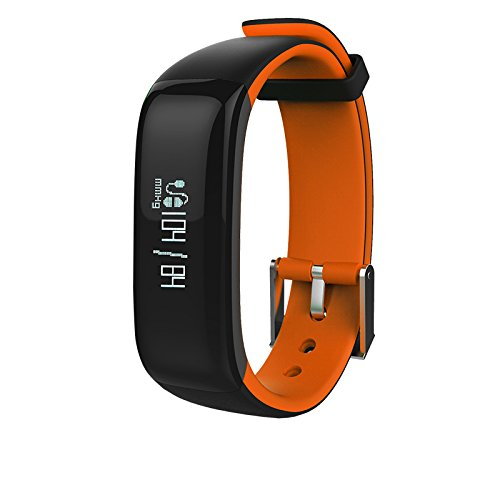 Kassica Health Fitness Tracker with Heart Rate Monitor and Blood Pressure Sports Smart Wristband Pedometer Smart Bracelet Bluetooth Smart Watch for IOS IPhone Android Samsung Phones (Orange)