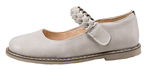 AllhqFashion Round Toe Low Pumps Womens Solid Gray PU and Hook Shoes Loop Heels rYxY80Oqw