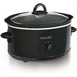 7-Quart Manual Slow Cooker, Black, Serves Over 9 People