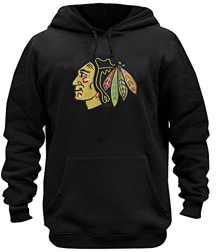 Mens Athletic Blackhawks Embroidery Cotton Sweatshirt Pullover Hoodie (XL) -