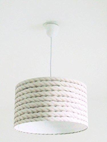Lustre suspension plafonnier abat-jour imitation cordage corde marine Luminaire diamètre personnalisé cylindre rond idée cadeau anniversaire décoration bord de mer nature