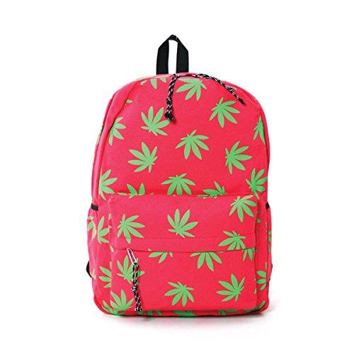 Fresh Green Marijuana Leaves Printed Canvas Backpack