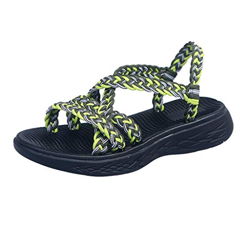 Kiminana Fashion Beach Holiday Sandals Summer Women Colorful Cross Strappy Sandals Comfy Wedge Hiking Walking Shoes Yellow