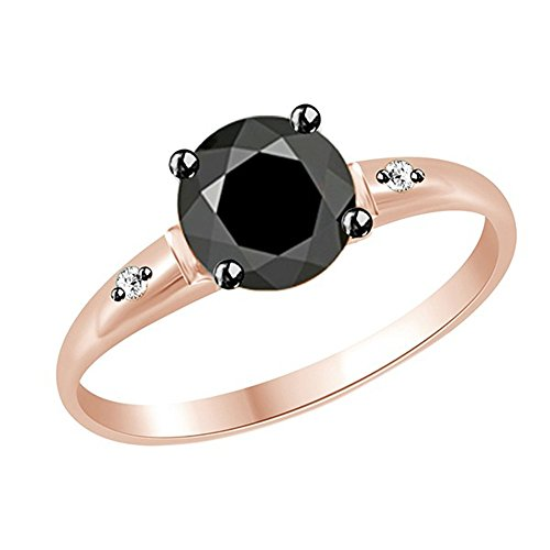 Jewel Zone US 2.85 Carat Black Moissanite and Natural White Diamond Ring 14k Rose Gold Over Sterling Silver ()