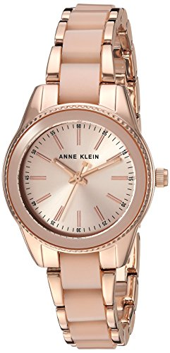 (Anne Klein Women's Rose Gold-Tone and Light Pink Resin Bracelet Watch)