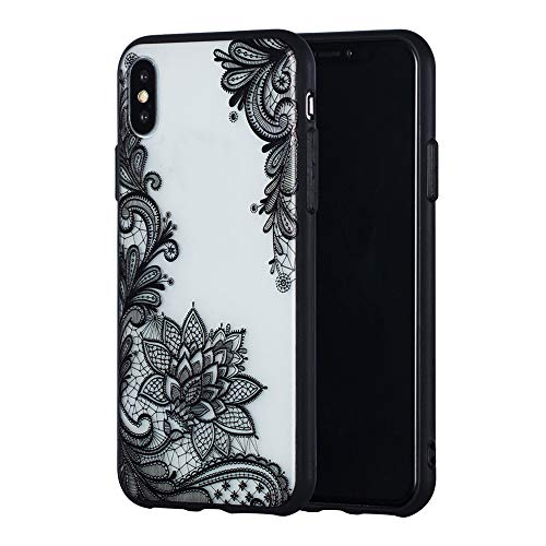 Nick Halloween Bumpers (JICUIKE Phone Case for iPhone Xs Max Shell Slim Fit Cute Sexy Lace Flower Design Matte Hard Plastic Back Cover Protective Hybrid Rubber Bumper [Black)