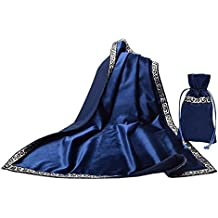 Gothic Altar Tarot Card Table Cloth with Tarot Pouch Divination Wicca Velvet Tapestry (Blue)