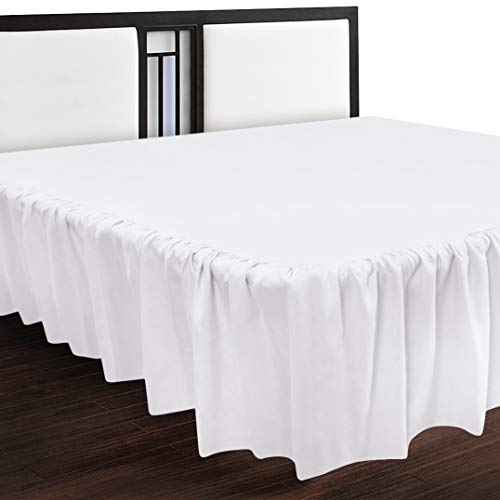 Utopia Bedding Bed Ruffle - Dust Ruffle - Easy Fit with 16 Inch Tailored Drop - Hotel Quality, Wrinkle, Shrinkage and Fade Resistant (Queen, White)