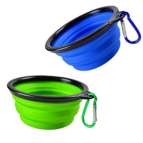Collapsible Dog Bowl, 2 Pack Portable Pet Travel Water Bowls, Foldable Expandable Cup Dish Set for Pet Cat Service Dogs, Food Grade Silicone Bowl 2 Carabiner (Blue+Green)