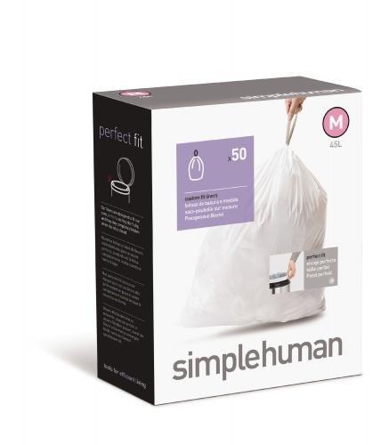 simplehuman Custom Fit Trash Can Liner M, 45 L / 12 Gal, 50-Count Box