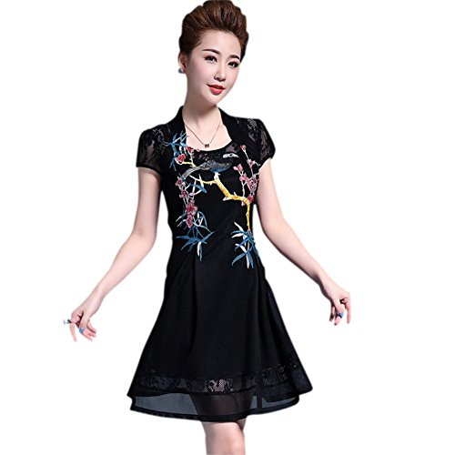 Drasawee Women Embroidery Cheongsam Party Qipao Dress Short Formal Dress XXXXL by Drasawee