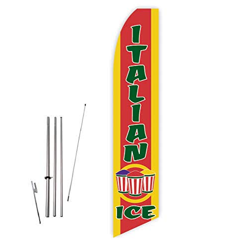 Italian Ice (Yellow/Red) Super Novo Feather Flag - Complete with 15ft Pole Set and Ground Spike