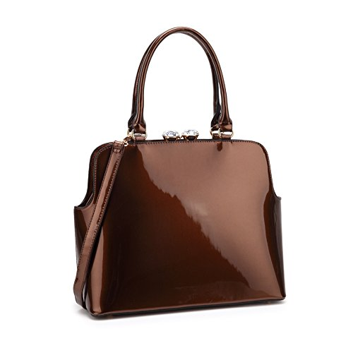 Imported Top Handle Bags - MKP Collection Designer Shoulder handbag~Satchel for Woman~Top Purse for lady (7525) Coffee