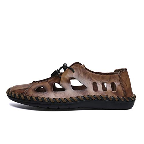 〓COOlCCI〓Men's Leather Fisherman Sandals,Men's Sports Sandals Trail Outdoor Water Shoes,Walking Shoes,Flat Shoes Brown