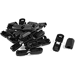 uxcell Zipper Pull Cord Plastic Lock Ends 5.5mm x 5.3mm 20pcs Black