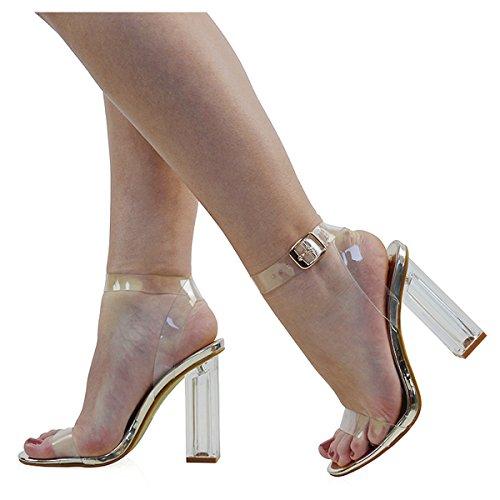 ESSEX GLAM Gold Heel Damen Neue Clear Clear Metallic Perspex Damen Peep Riemchen und Sandalen Toe Party Schuhe H1wrHdq