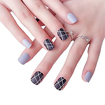 JINDIN 24 Sheet Short French Fake Nails for Girls Black Press On Nails For  Office Lady