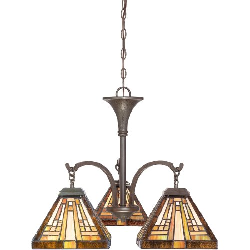 Quoizel Stained Glass Pendant - Quoizel TFST5103VB Stephen Tiffany Mini Chandelier, 3-Light, 300 Watt, Vintage Bronze (20