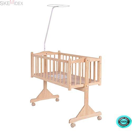 SKEMiDEX---Wood Baby Cradle Rocking Crib Bassinet Bed Sleeper Born Portable Nursery Yellow This Wooden Baby Cradle comes complete with everything your baby needs for sleep